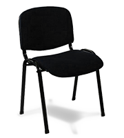 Silla de visita ISO tapiz estructura negra tapiz negro